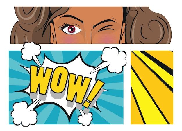 Piękna brunetka kobieta i plakat w stylu pop-art słowo wow.