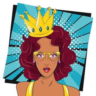 Piękna brunetka kobieta w okularach i koronie plakat w stylu pop-art.