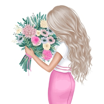 Piękna brunetka z bukietem kwiatów. ilustracja moda.