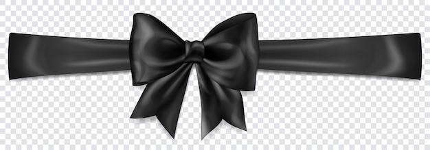 Piękna czarna kokardka z poziomą wstążką z cieniem na przezroczystym tle