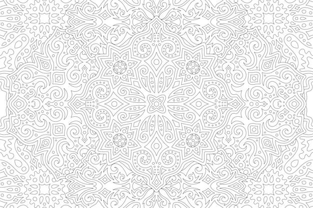 Piękna czarno-biała ilustracja dla dorosłych kolorowanka z abstrakcyjnym liniowym wzorem vintage