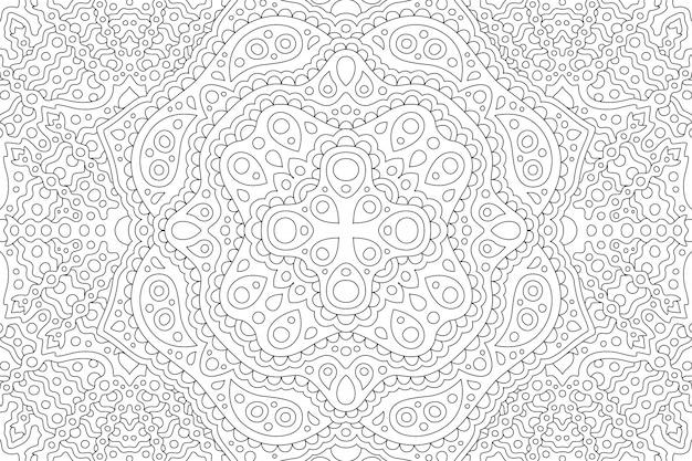 Piękna czarno-biała ilustracja dla dorosłych kolorowanka z abstrakcyjnym wschodnim liniowym wzorem