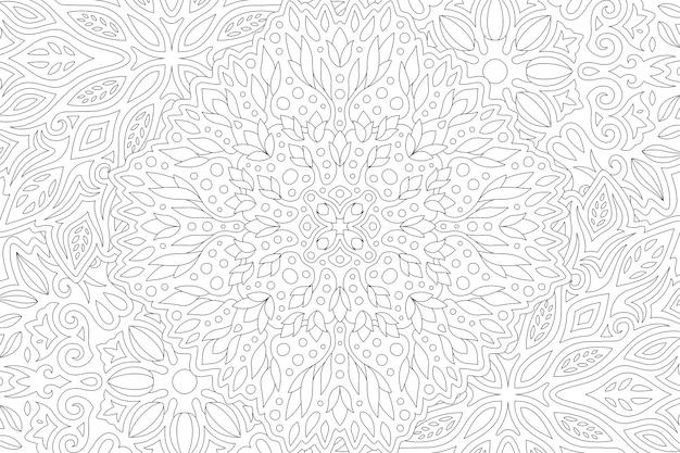 Piękna czarno-biała ilustracja dla dorosłych kolorowanka z liniowym wzorem abstrakcyjnym prostokąta