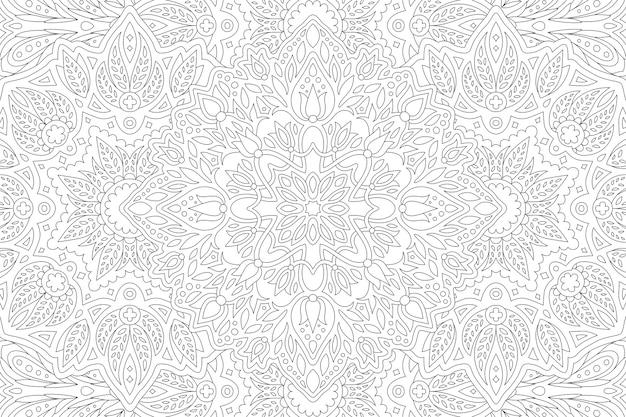 Piękna czarno-biała ilustracja dla dorosłych kolorowanka z liniowym wzorem kwiatowym prostokąta