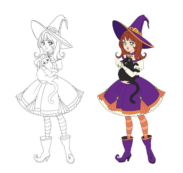 Piękna czarownica anime trzyma czarnego kota