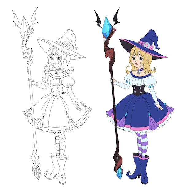 Piękna czarownica kreskówka trzyma duży personel. blond włosy, niebieska sukienka i duży kapelusz.