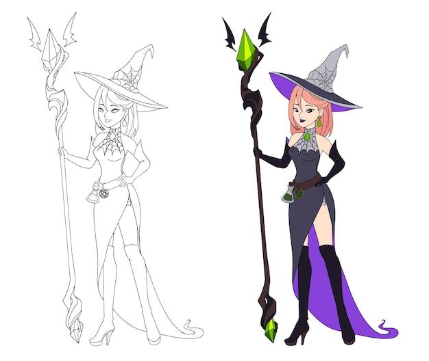 Piękna czarownica kreskówka trzyma duży personel