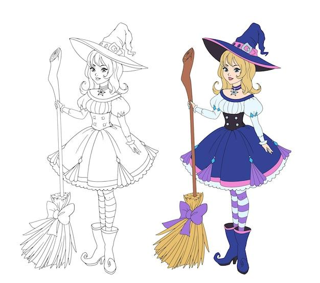 Piękna czarownica kreskówka trzymając drewnianą miotłę. blond włosy, niebieska sukienka i duży kapelusz.