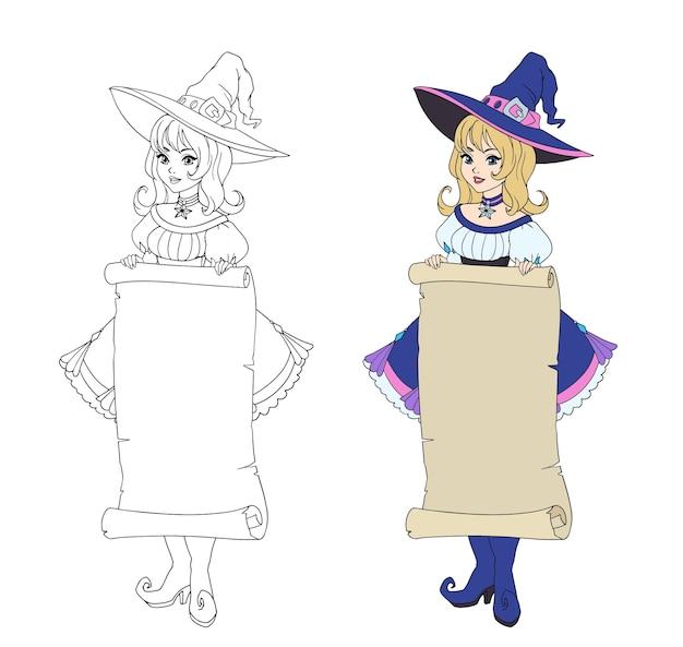 Piękna czarownica kreskówka trzymając transparent pergamin