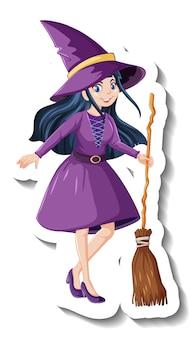 Piękna czarownica trzymająca naklejkę z postacią z kreskówek na miotle