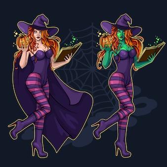 Piękna czarownica w pełni wzrostu z magiczną książką i dynią na halloween