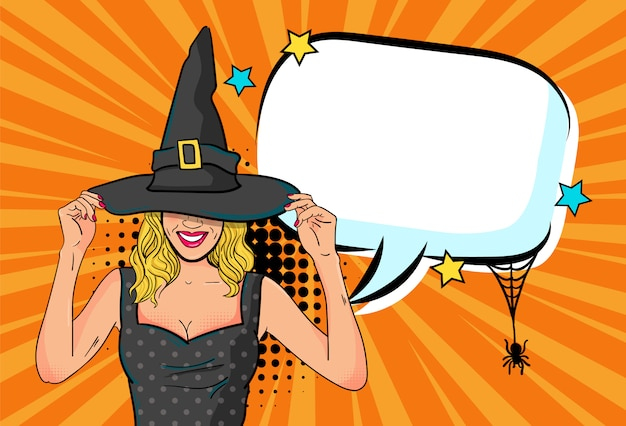 Piękna czarownicy kobieta ogłasza halloween przyjęcia z pustym mowa bąblem w komiczka stylu ilustraci