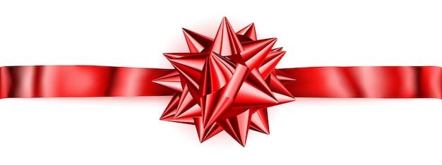 Piękna czerwona błyszcząca kokardka z poziomą wstążką z cieniem