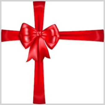 Piękna Czerwona Kokarda Z Poprzecznymi Wstążkami Premium Wektorów