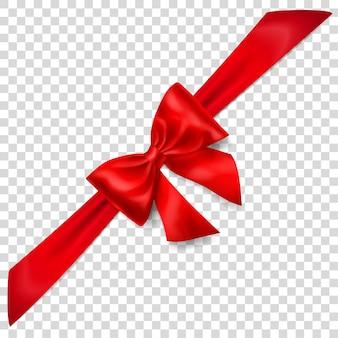 Piękna czerwona kokarda z ukośną wstążką z cieniem na przezroczystym tle