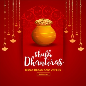 Piękna czerwona szczęśliwa dhanteras festiwalu powitania ilustracja