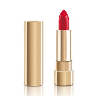 Piękna czerwona szminka z pokrywką w kolorze złotym.