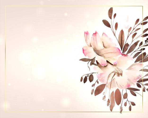 Piękna dekoracja kwiatowa akwarela z miejscem na tekst
