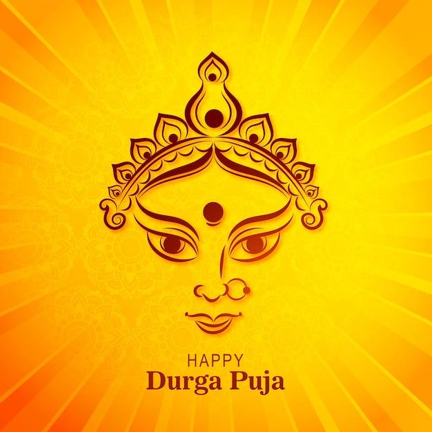 Piękna dekoracyjna karta festiwalu indyjskiego happy durga pooja