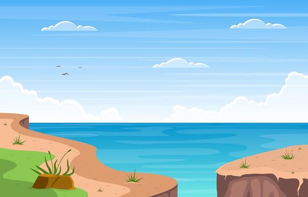 Piękna denna panoramy plaży wybrzeża zatoki oceanu krajobrazu ilustracja