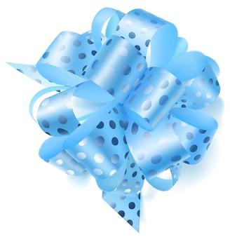 Piękna duża kokarda wykonana z jasnoniebieskiej wstążki w groszki z cieniem na białym tle