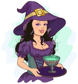 Piękna dziewczyna czarownica trzyma kubek mikstury na tacy