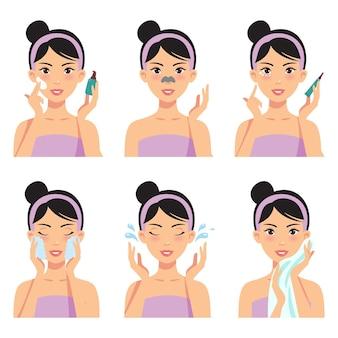 Piękna dziewczyna czyści i pielęgnuje twarz różnymi czynnościami, twarz, leczenie, uroda, zdrowie, higiena, styl życia, zestaw kobiet na białym tle.