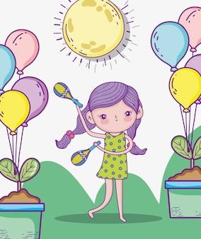 Piękna dziewczyna gra marakasy z balonami i roślinami