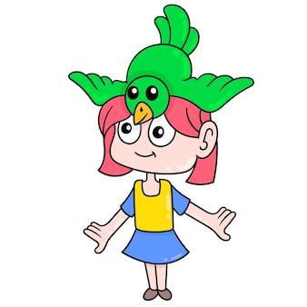 Piękna dziewczyna gra ptak siedzący na głowie, ilustracji wektorowych sztuki. doodle ikona obrazu kawaii.