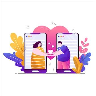 Piękna dziewczyna i facet trzymają się za ręce na telefonie