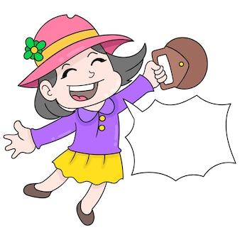 Piękna dziewczyna jest szczęśliwa twarz witając wakacje, wektor ilustracja sztuki. doodle ikona obrazu kawaii.