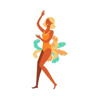 Piękna dziewczyna lub tancerka brazylijskiego karnawału, festiwalu lub samby. brazylijska dziewczyna lub tancerka kobieta na karnawale w kostiumie z piórami, ilustracja kreskówka.