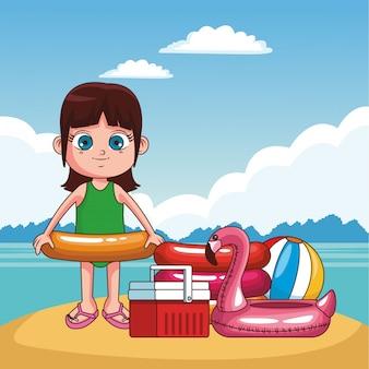 Piękna dziewczyna ma zabawę przy plażowej kreskówki wektorowym ilustracyjnym graficznym projektem