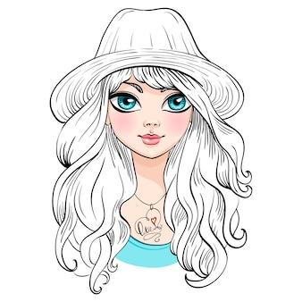Piękna dziewczyna moda w kapeluszu