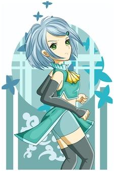 Piękna dziewczyna niebieskie włosy z ilustracja kreskówka zielone ubrania