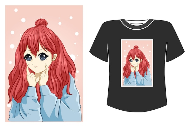 Piękna dziewczyna rude włosy ilustracja kreskówka