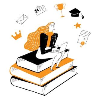 Piękna dziewczyna siedzi na książce i marzy o pięknej przyszłości. ilustracja wektorowa