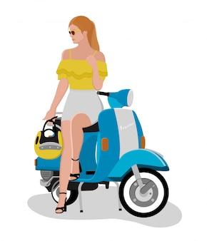 Piękna dziewczyna siedzi na skuterze retro