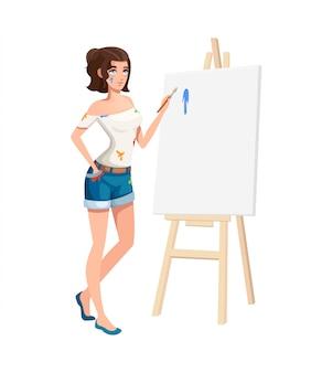Piękna dziewczyna stojąc przy sztalugach z pędzlem. brudne ubrania. postać z kreskówki . ilustracja na białym tle