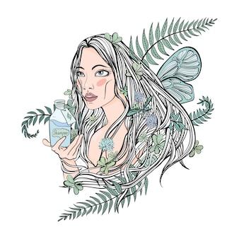 Piękna dziewczyna trzyma butelkę kosmetyków. liście roślin we włosach - symbol naturalnych kosmetyków organicznych. ilustracja wektorowa, na białym tle