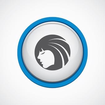Piękna dziewczyna twarz błyszcząca z niebieską ikoną obrysu, koło, na białym tle