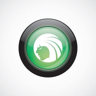 Piękna dziewczyna twarz szkło znak ikona zielony przycisk błyszczący. przycisk strony interfejsu użytkownika
