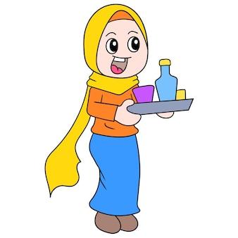 Piękna dziewczyna ubrana w muzułmański hidżab przynosi jedzenie, aby przerwać szybką, ilustracyjną grafikę wektorową. doodle ikona obrazu kawaii.