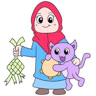 Piękna dziewczyna ubrana w muzułmański hidżab ze swoim kotem świętującym eid, ilustracja wektorowa sztuki. doodle ikona obrazu kawaii.