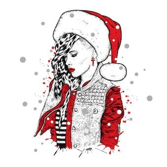 Piękna dziewczyna w spuście z cierniami iw czapce świętego mikołaja. ilustracja. nowy rok i boże narodzenie. styl mody.