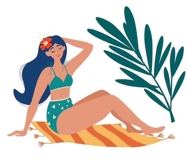 Piękna dziewczyna w stroju kąpielowym do opalania na macie. palmy. letnia opalenizna, odpoczynek. kobieta opala się na słońcu i cieszy się letnimi wakacjami. ilustracja wektorowa w stylu cartoon.