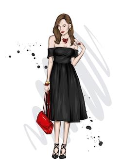 Piękna dziewczyna w stylowej sukience