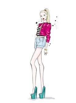 Piękna Dziewczyna W Stylowych Letnich Ubraniach Premium Wektorów