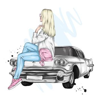 Piękna dziewczyna w stylowych ubraniach i retro samochodzie