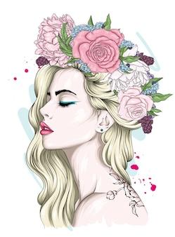 Piękna dziewczyna w wianek kwiatów